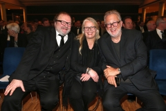 LAUPHEIM, GERMANY - MARCH 15: Producer Stefan Arndt and his wife Manuela Stehr and Martin Moszkowicz, CEO Constantin Film, during the 3rd Carl Laemmle Producer Award ( Produzentenpreis ) at Kulturhaus Laupheim on March 15, 2019 in Laupheim, Germany. (Photo by Gisela Schober/Getty Images for Carl Laemmle Producer Award)