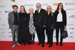 LAUPHEIM, GERMANY - MARCH 15: Son Paul Stehr and his fiance Nadine Abramowski, Monika Papakakis,( aunt)  Stefan Arndt and his wife Manuela Stehr, Cousin Dorothea Papakakis during the 3rd Carl Laemmle Producer Award ( Produzentenpreis ) at Kulturhaus Laupheim on March 15, 2019 in Laupheim, Germany. (Photo by Gisela Schober/Getty Images for Carl Laemmle Producer Award)